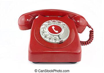 telefon, stary, 1970's, czerwony