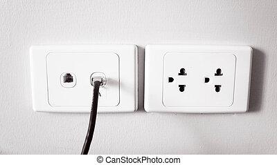 telefon, steckdose, outlet