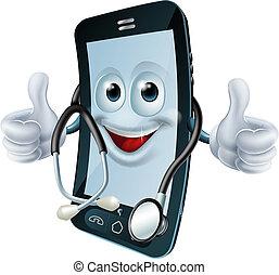 telefon, stetoskop, człowiek