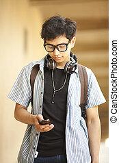 telefon, student, kolegium, ruchomy