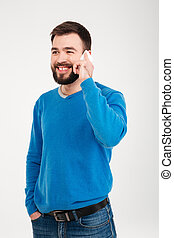 telefon, szczęśliwy, człowiek mówiący