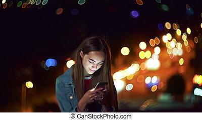 telefon, tízenéves kor, cityscape, kéz, beszélgető, háttér, ...