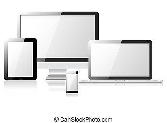 telefon, tablette, laptop monitor