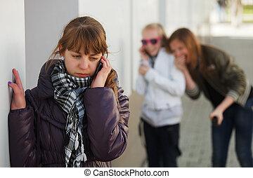telefon, teenagermädchen, berufung