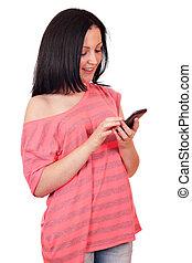 telefon, teenagermädchen, klug