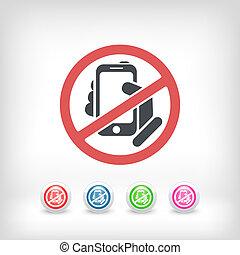 telefon, tiltott, ikon