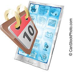 telefon, tischkalender, begriff