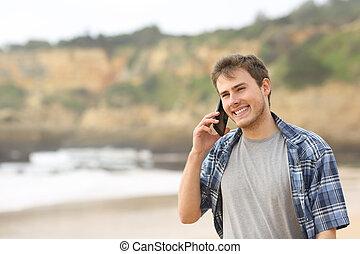 telefon, tizenéves, tengerpart, pasas, beszéd