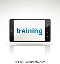 telefon, trening, słowo, ruchomy