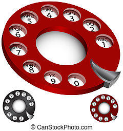 telefon, urskive, sæt, roterende