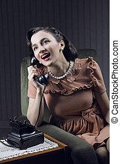 telefon, vidám woman, landline, beszéd