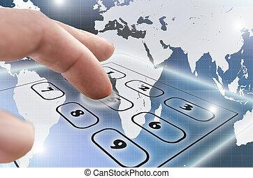 telefon, virtuell, tastenfeld, navigieren