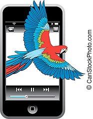 telefon, vogel, modern, beweglich