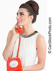 telefon, wählscheibe, gebrauchend, sechziger, frau, stil