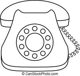 telefon, wählscheibe, schreibtisch