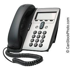 telefon, weißes, voip, freigestellt, hintergrund