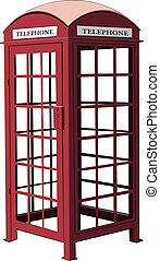 telefon, wektor, londyn, stragan, czerwony