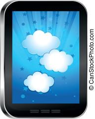 telefon, wolke, touchscreen
