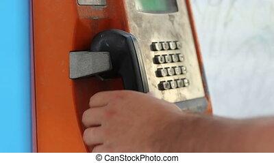 telefon, wykręcanie, stragan