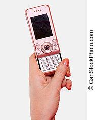 telefon, zelle, rosa