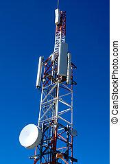 telefon, zmiana, anteny, głęboki, lazur, ruchomy