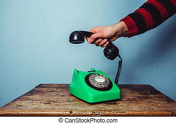 telefon, zrywanie, człowiek, do góry, ręka