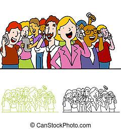 telefonare, persone, folla, usando