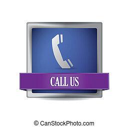 telefone, ícone, botão, ilustração