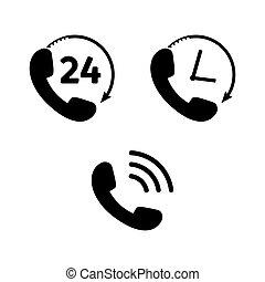 telefone ícone, jogo, em, apartamento, style., telefone, símbolos
