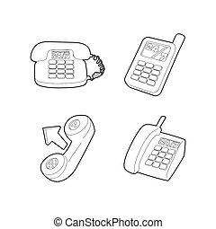 telefone, ícone, jogo, esboço, estilo