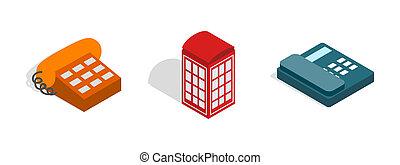 telefone, ícone, jogo, isometric, estilo
