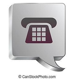 telefone, ícone, ligado, aço, bolha