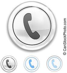 telefone, ícone, ligado, botão