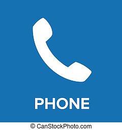 telefone ícone, vetorial, azul
