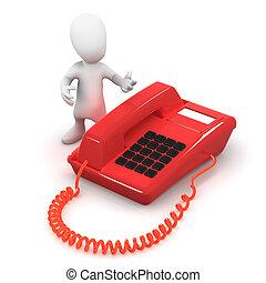 telefone, 3d, vermelho, homem