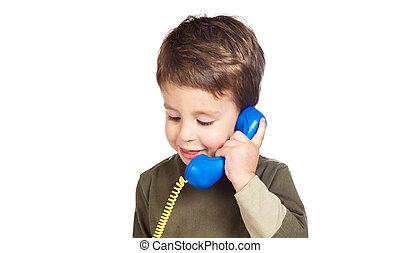 telefone, adorável, criança