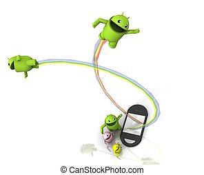 telefone, android, 3d, saída