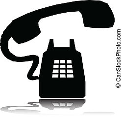 telefone, anel, vetorial, silhuetas