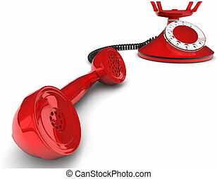 telefone antiquado, isolado, branco