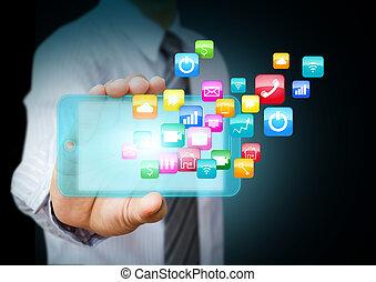 telefone, aplicação, esperto, ícones