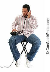 telefone, assento homem