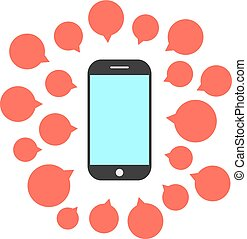 telefone, bolhas, jogo, fala, esperto
