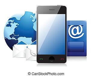 telefone, célula, correio