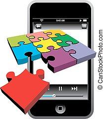 telefone, célula, modernos, isolado