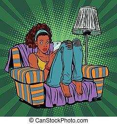 telefone, cadeira, mulher