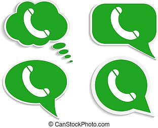 telefone call-01 - green think bubble phone icon, free line...