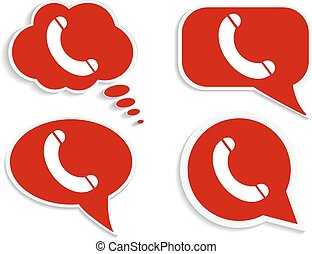 telefone call-02 - Phone on red word bubble speech, busy...
