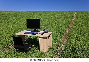 telefone, campo, computador, escrivaninha verde, caminho