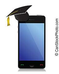 telefone, com, graduação, chapéu