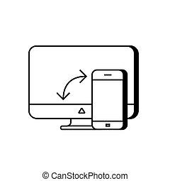 telefone, computador, sincronização